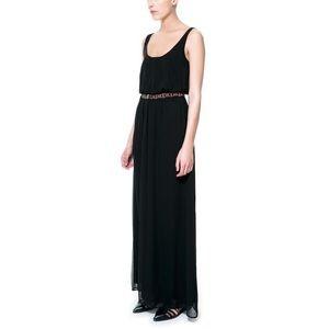 NWT Zara Chiffon Maxi Dress w/ Beaded Belt